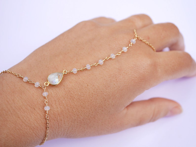 Gold Ring Gold Hand Jewelry Gold plated Bracelet Handlet Jewelry Bracelet and ring jewelry Transparent Iridescent MoonStone