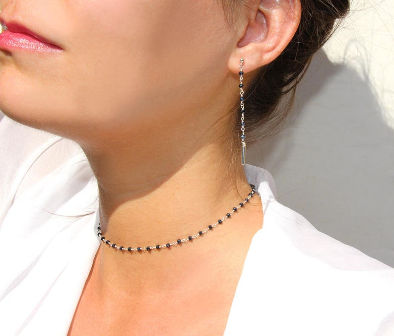 stackable -Simple Choker -Dainty Choker sterling silver chain choker black beaded necklace stone necklace Rosary gem choker necklace