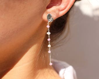 Earrings silver leaves - pearls freshwater white pearls and pale pink jade beads - wedding jewelry for