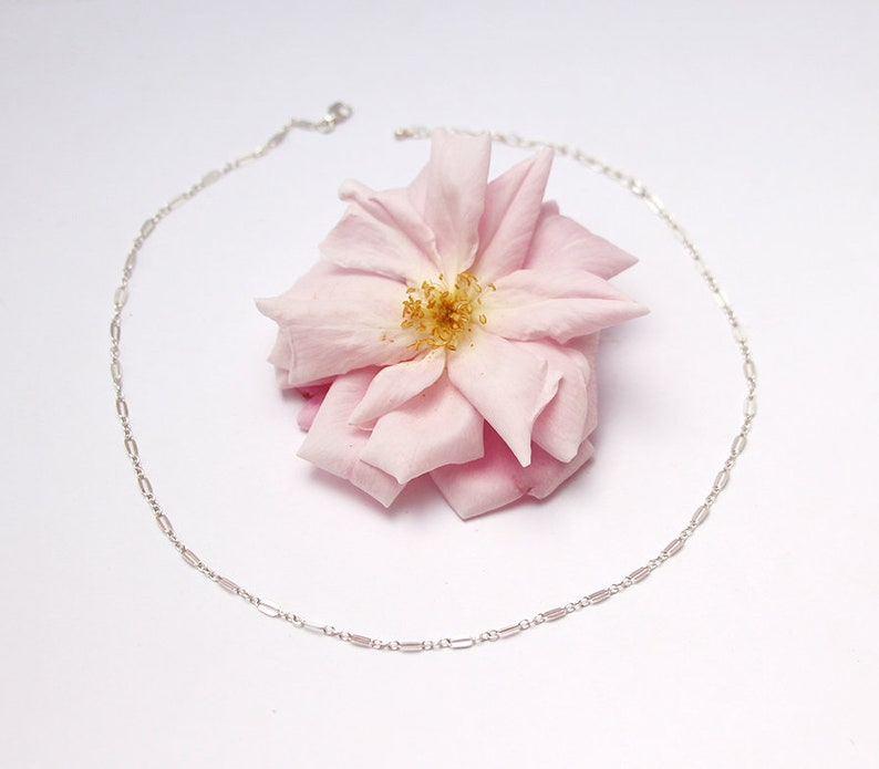 Flower charm necklace wedding jewels Set of 2 Sterling silver necklaces flower jewels choker chain bridesmaid Y necklace
