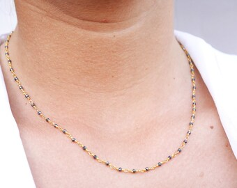 Gold Rosary chain necklace - Pyrite stone necklace - gold beaded necklace - gold plated chain choker - black gold - Everyday Gold necklace