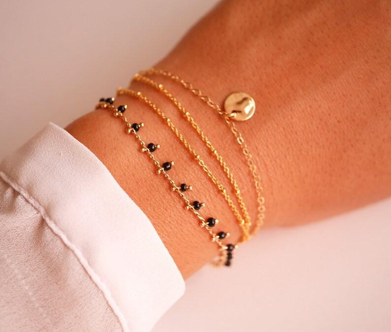 Thin bracelet Gold bracelet Set of 3 Gold Plated bracelet Satelite Christmas Gift Minimal Black beads bracelet Beaded Bracelet