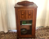 Vintage Rosewood Edwardian Music Cabinet with Marquetry Inlays c.1905