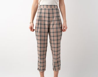 The Paris Pant - Tartan Tapered Trousers, Large Check in Caramel Beige