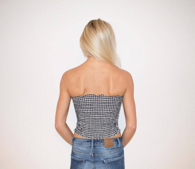 Small Check in Black and White Gingham Shirred Boobtube