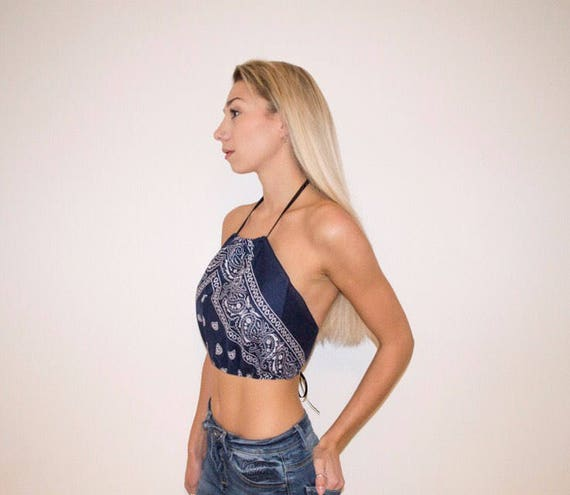 Baby Blue Bandana Backless Tie Up Crop Top