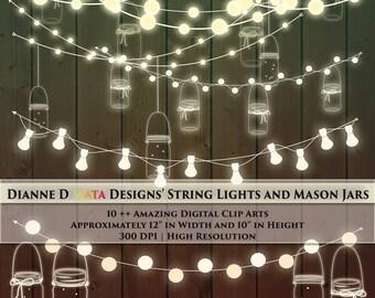 Mason Jar String Light Clip Art Custom Invitation Theme Rustic Clipart DIY