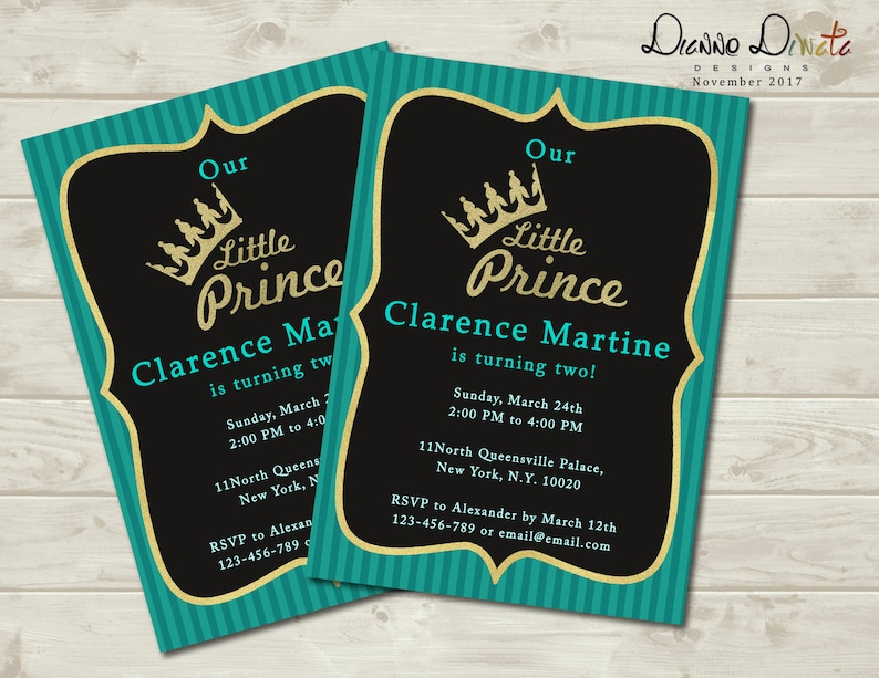 Little Prince Birthday Invitation Invitations For Kids Blue Baby Shower Boy Royal Printable Invite Party