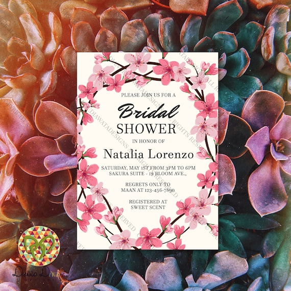 Cherry Blossoms Bridal Shower Invitation Floral Theme Sakura Invitation Cherry Blossoms Invitation Card Flower Bridal Shower Invite Card