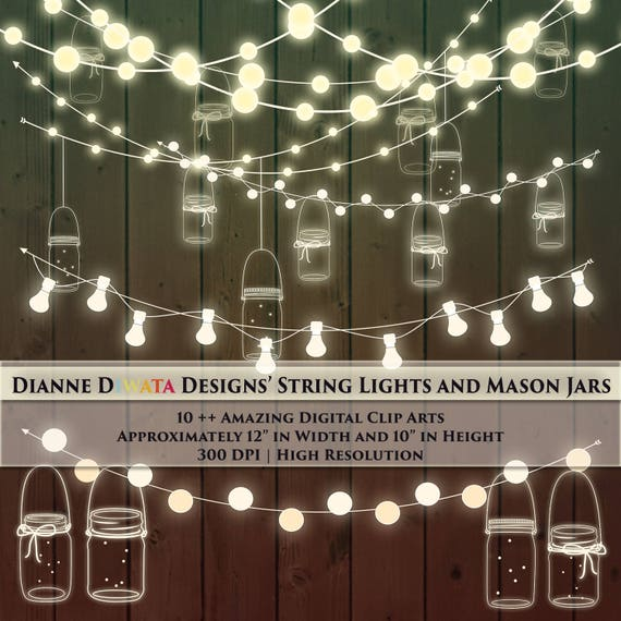 Mason Jar Amp String Light Clip Art Custom Invitation Theme