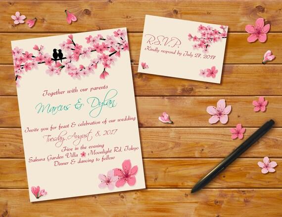 Cherry Blossoms Wedding Invitation Digital File Pink Cherry Etsy