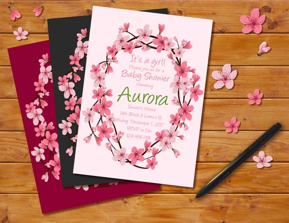 Cherry blossoms baby shower invitation floral theme cherry etsy image 0 filmwisefo