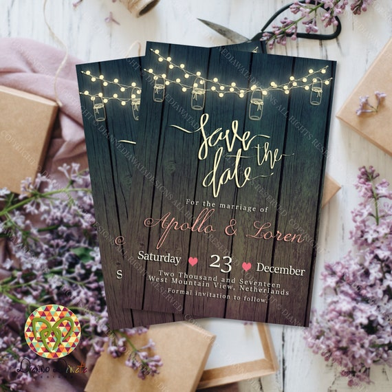 photograph regarding Etsy Printable Invitations identified as Help you save the Day Rustic Wooden Invitation, Printable Invitation, Wooden Invitation, String Light-weight Invitation, Region Marriage Invites