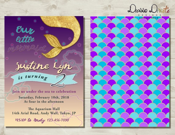 Our Little Mermaid Birthday Invitation Baby Girl Birthday Invitation Digital File Invitation Card Baby Shower Invitation Invitation Card