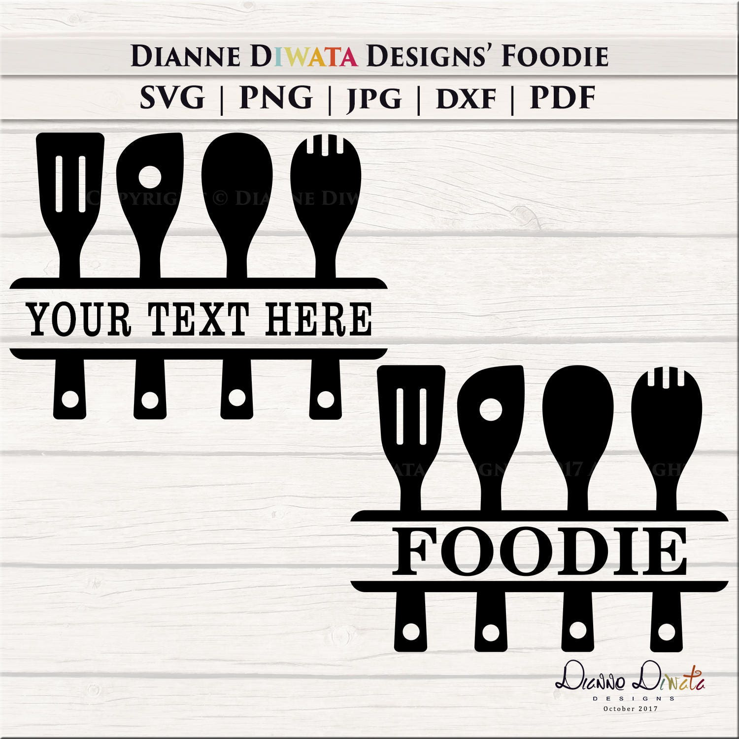 Kitchen Utensil SVG, Foodie Clipart, Kitchen Signs Personalized Wall ...