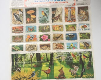 Vintage gummed wildlife stamps 1975