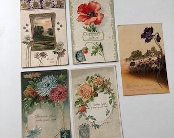 Set of 5 very old and rare French postcards