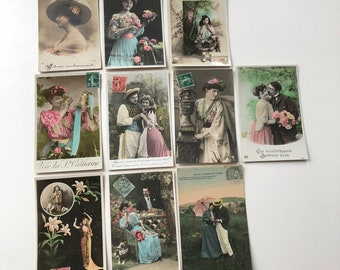 set of 10 old French postcards