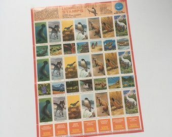 Vintage gummed wildlife stamps 1973