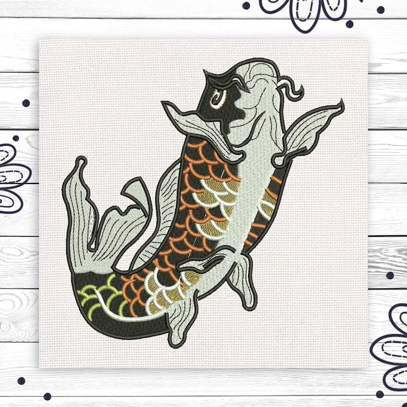 Koi Pond Fish Embroidery SVG Art Craft Gift Stitching Pattern Discount 10%  Machine Embroidery Scheme Design 4 Sizes INSTANT DOWNLOAD EE5075