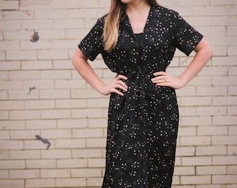 Vintage Black Floral T-Length Dress