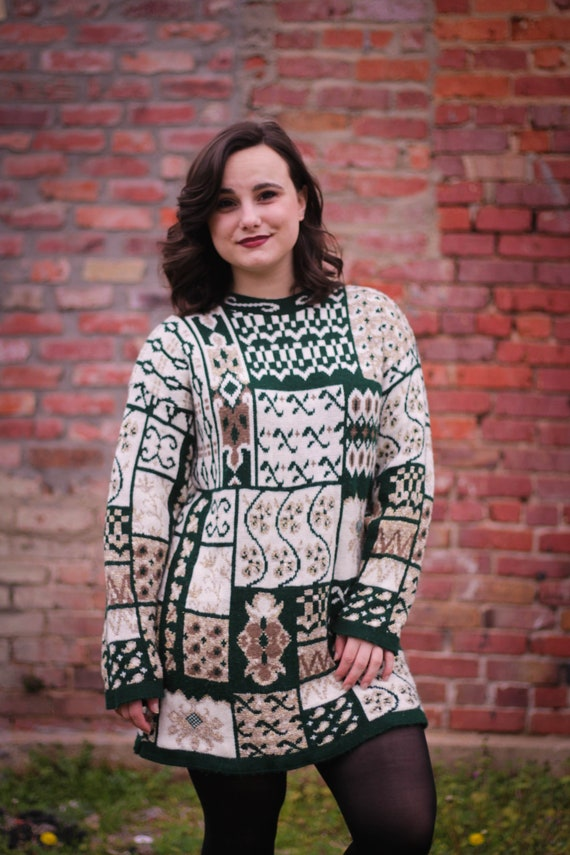 Vintage Green & Gold Christmas Sweater Dress | Ove