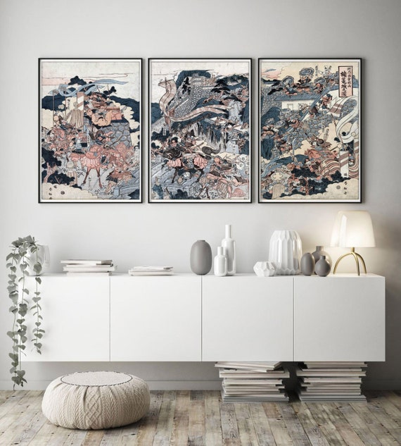 Japanese Print Set of 10 * Japanese Wall Art * Modern Wall Art * Woodcut Art  Print * Japanese Poster * Asian Art * Oriental Wall Art *