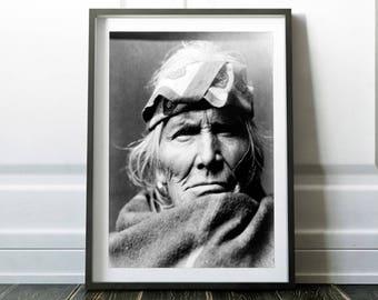 Native American Art Print. Black And White Photo. American İndian Art. Native American Poster. Wall Decor. Home decor. Si Wa Wata Wa Print.