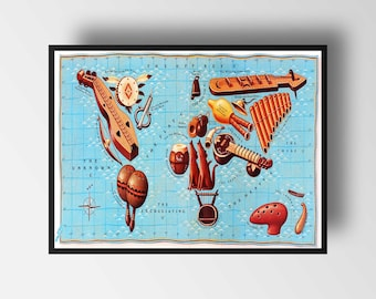 World Map by Instruments * Map of the World * Map Art Print * World Map Wall Art * Vintage Map Poster * GİCLEE print * FREE Shipping