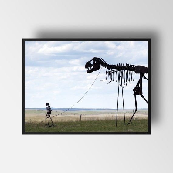 Photography Print * Skeleton Man walking Skeleton Dinosaur * Street Art *  Dinosaur Print * Skeleton Print * Giclee Print *