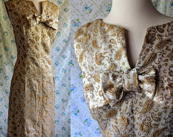 1960s gold jacquard wiggle dress with matching jacket