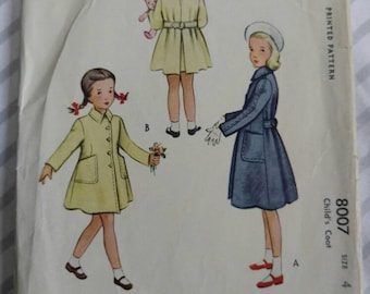 1950s McCalls 8007 girls coat sewing pattern
