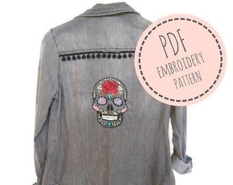 Día de los muertos- Embroidery Pattern - PDF Embroidery pattern - DIY embroidered shirt- PDF Digital Download - diy embroidered clothes
