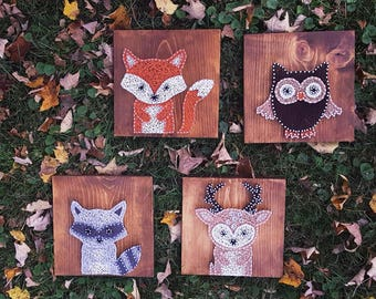 Woodland Animal String Art/ Nursery Sign/ Nursery Decor/ Woodland Nursery/ Rustic Nursery/ Baby Shower Gift/ Farmhouse Decor/ Gifts for her