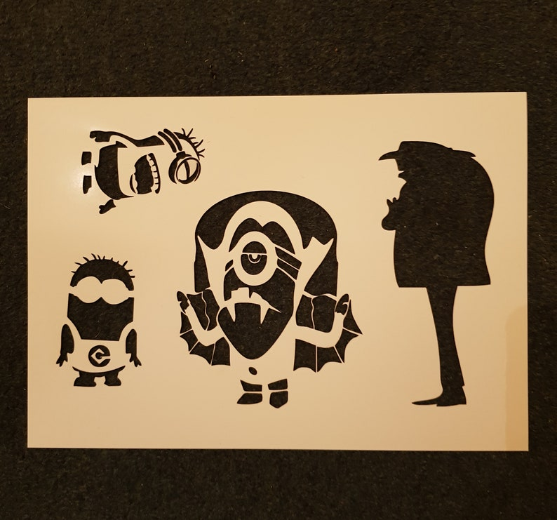 laser cut from mylar Minion set Stencil