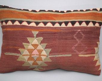 60 x 40 cm Wool boho cushion. Unique vintage kilim pillow from Anatolia