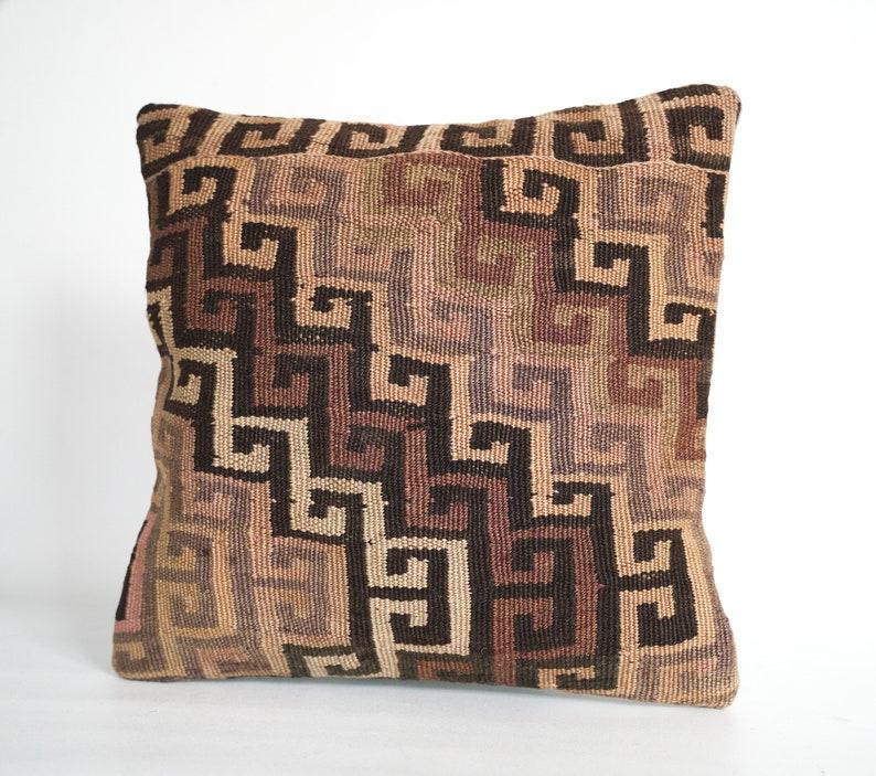 One-of-kind kilim pillow from Turkey 40 x 40 cm Wool boho cushion.