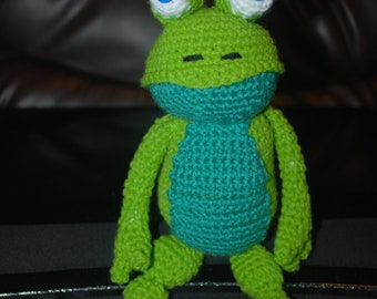 Handmade Crochet Frog Amigurumi style stuffed animal plushie.