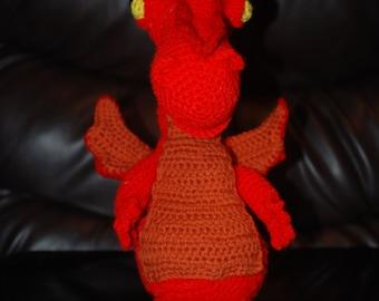 Handmade Crochet Dragon Amigurumi style stuffed animal plushie.
