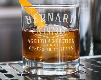 Personalized Etched Whiskey Rocks Lowball Glass |Custom Gift | Gift for Him | for Her | Husband | Groomsmen | Birthday Gifts | Bernard