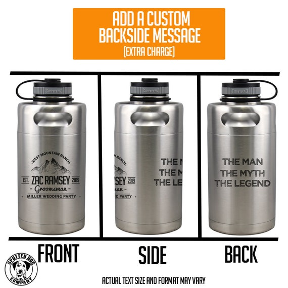 Personalized Etched Vacuum Insulated Beer Growler 64oz Keg Matte Black