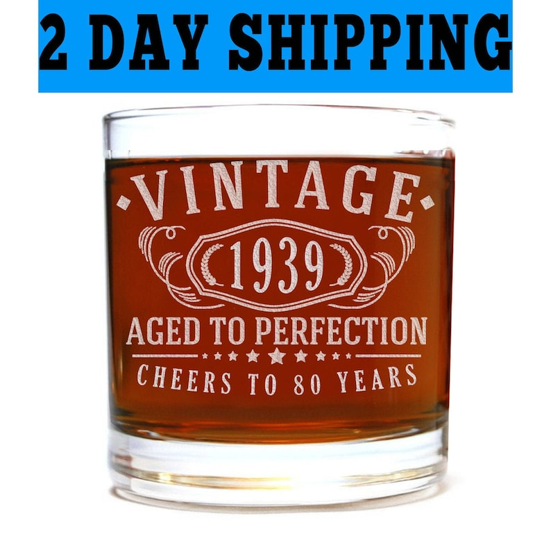 80 years old gifts Vintage 1939 Etched Pint 16oz Beer Glass 80th Birthday Aged to Perfection