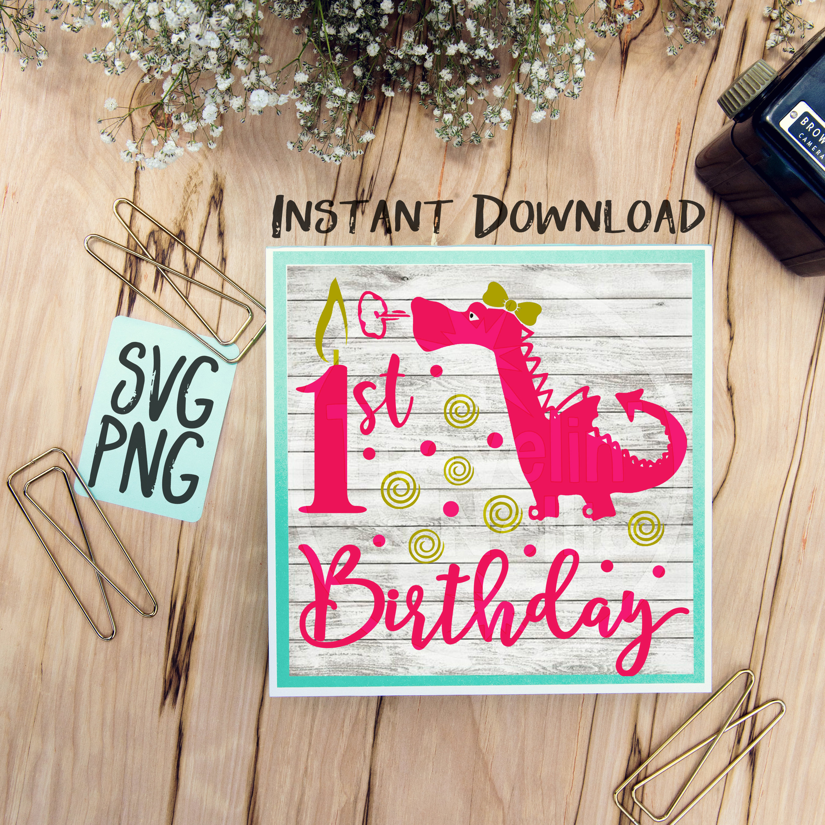 929859a37 1st Birthday Dragon Girl SVG Print or Cut File Great for Shirts Signs Cards  Etc. Silhouette Studio Cricut Cameo Vinyl Sublimation First One