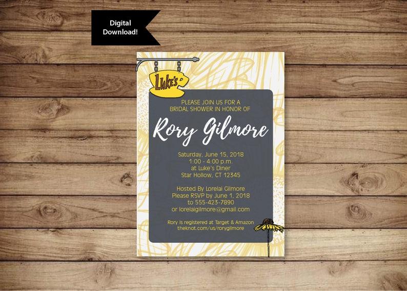 9a2f507689de Gilmore Girls Digital Invitation Bridal Shower Baby