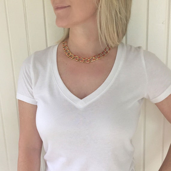Chunky Gold Chain Necklace, 1980s Necklace Chunky