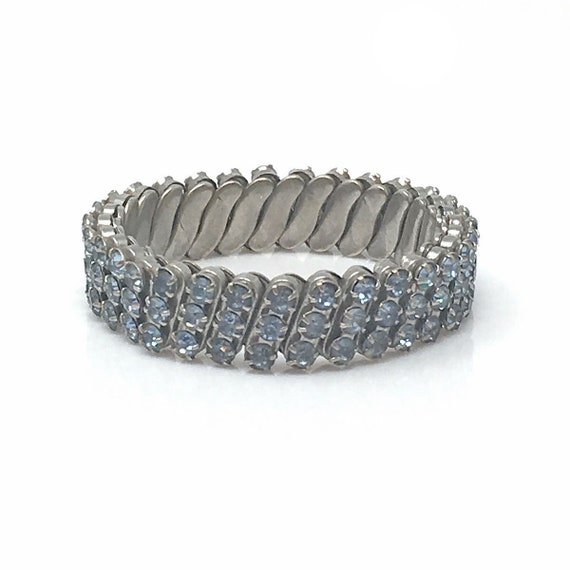 Vintage Pale Blue Rhinestone Expansion Bracelet, B