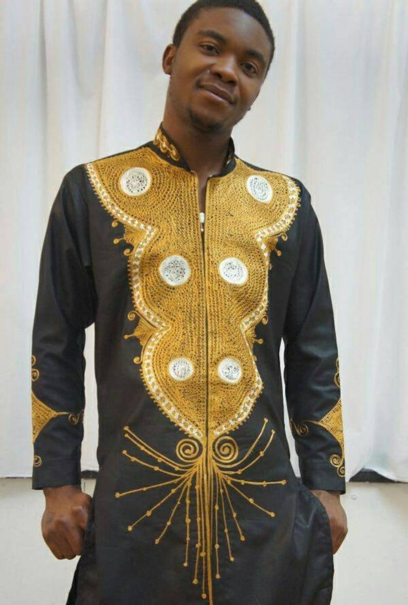 Vêtements africain Ankara hommes tenue Mens caftan haut et  8d0889d8352
