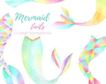 watercolor mermaid clipart, mermaid tails hand painted, mermaid party, mermaid tail illustrations, invitation clipart, diy invitations,