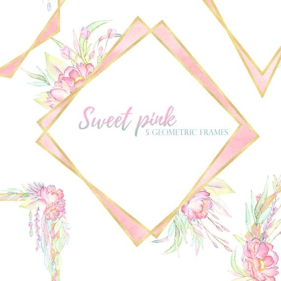 Blush Gold Geometric Frames Pink Gold Floral Frames Etsy