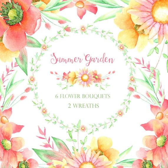 Sommer Blumen Blumen Hochzeit Cliparts Florale Elemente Etsy